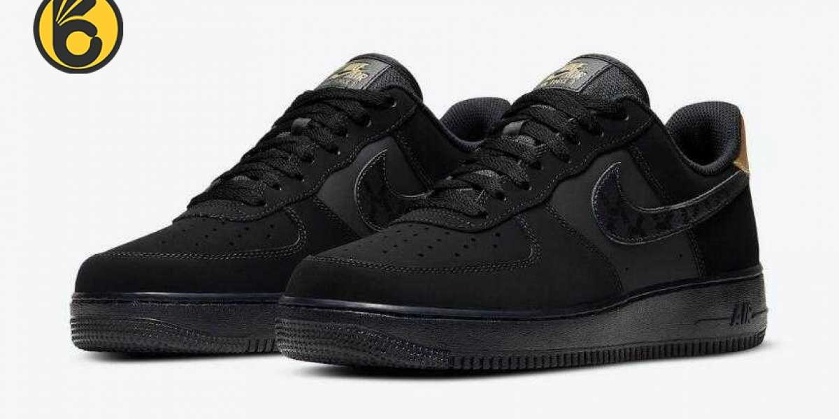 2020 Newly Nike Air Force 1 Low Black Nubuck Metallic Gold