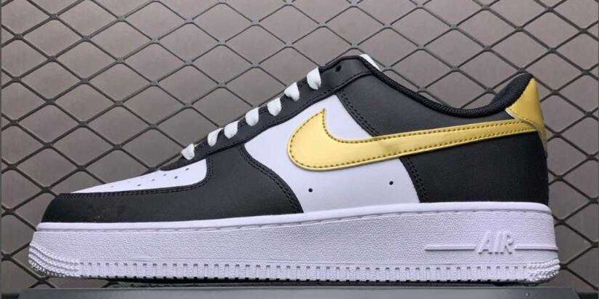 "2021 Nike Air Force 1 Low ""DMP"" Black White Metallic Gold Cheap Shoes For Sale CZ9189-001"